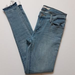 Levi 710 Light Wash Worn Skinny Jeans
